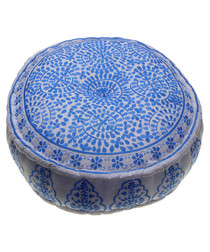 Nomad blue linen embroidered pouf