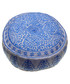 Nomad blue linen embroidered pouf Sale - bombay duck Sale