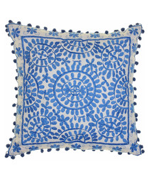 Souk blue cotton embroidered cushion