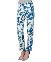 Blue & white floral trousers
