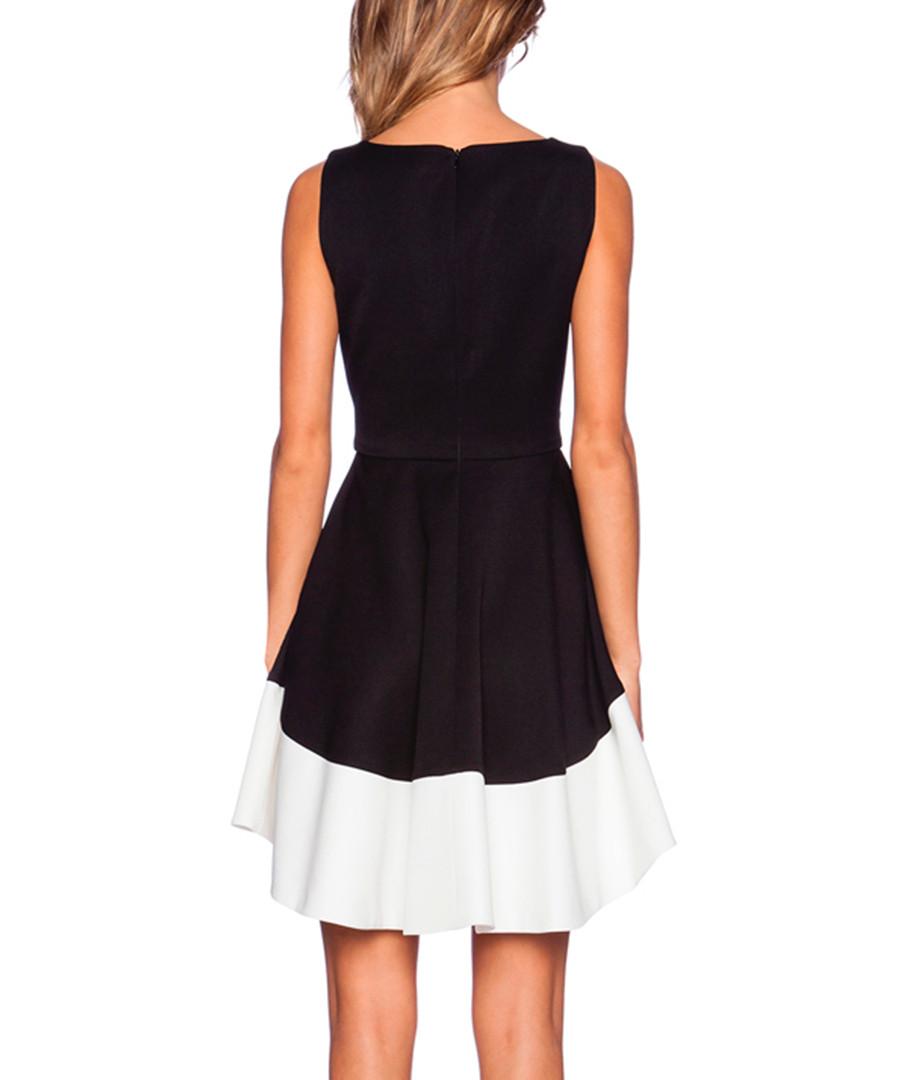 Black And White Dip Hem Dress White Dipped Hem Dress