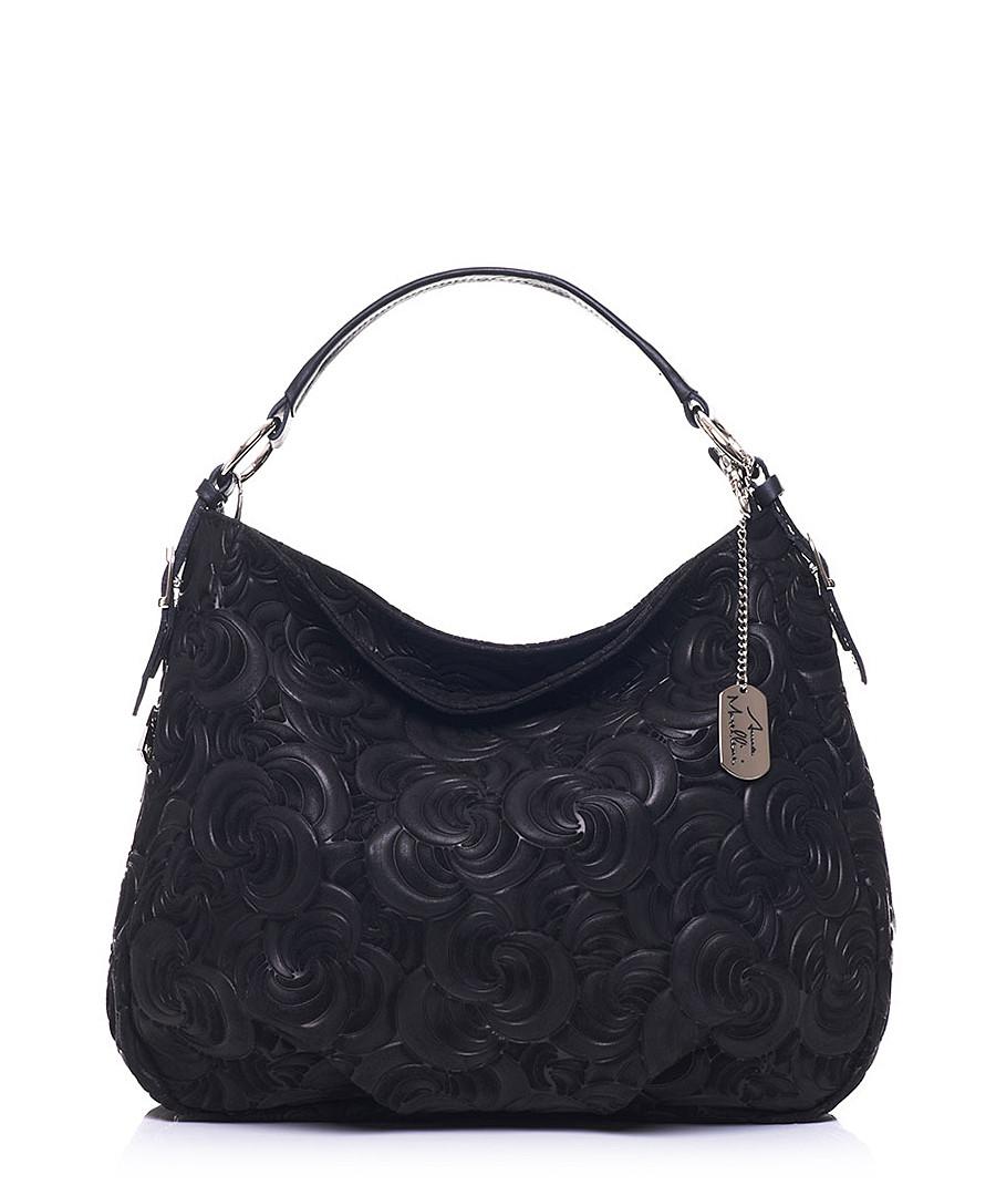Black leather floral shoulder bag Sale - anna morellini