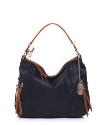 Black & tan leather detail shoulder bag