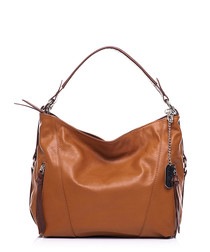 Tan leather twin-strap shoulder bag