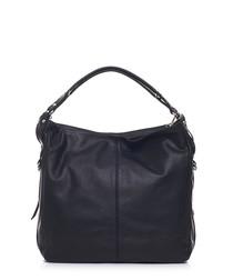 Black leather twin strap shoulder bag