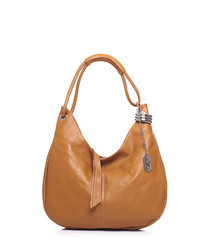 Tan leather slouch shoulder bag