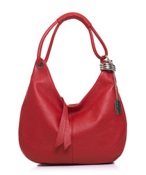 Red leather slouch shoulder bag