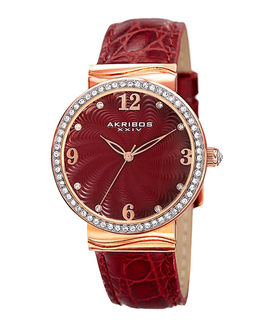 Red leather & Swarovski crystal watch Sale - akribos