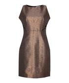 Bronze-tone metallic sleeveless dress
