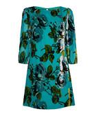 Teal silk blend floral print tunic dress