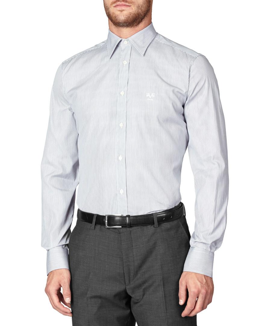 Navy & white pure cotton striped shirt Sale - v italia by versace 1969 abbigliamento sportivo srl milano italia