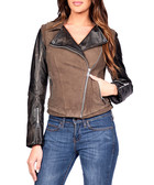 Cheadle olive leather & suede jacket