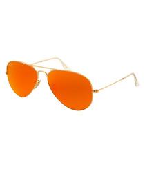 Aviator goldtone & orange sunglasses