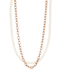 18ct rose gold-plated & pearl necklace