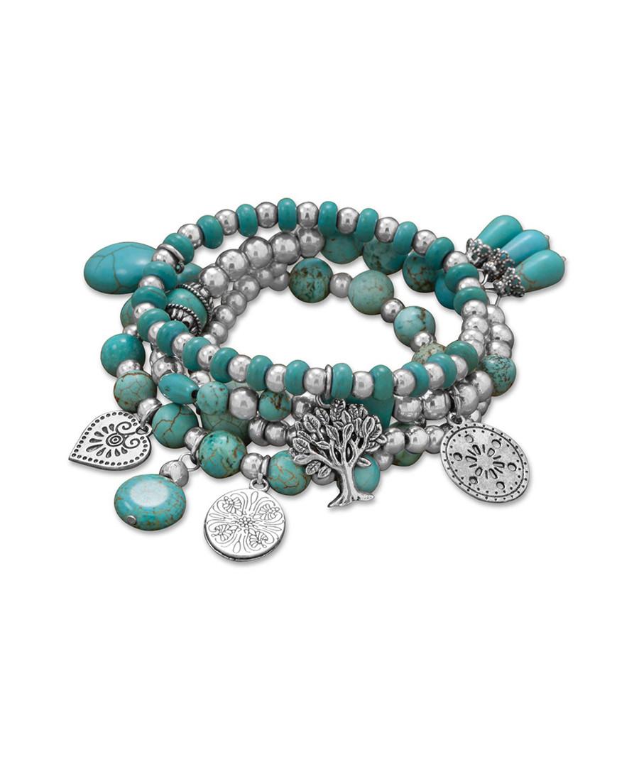 Silver-plated turquoise charm bracelet  Sale - LIV OLIVER