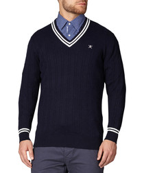 Navy cotton & cashmere cricket jumper