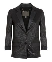Serra black leather perforated jacket