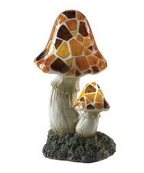 Image of Brown solar powered mushroom light