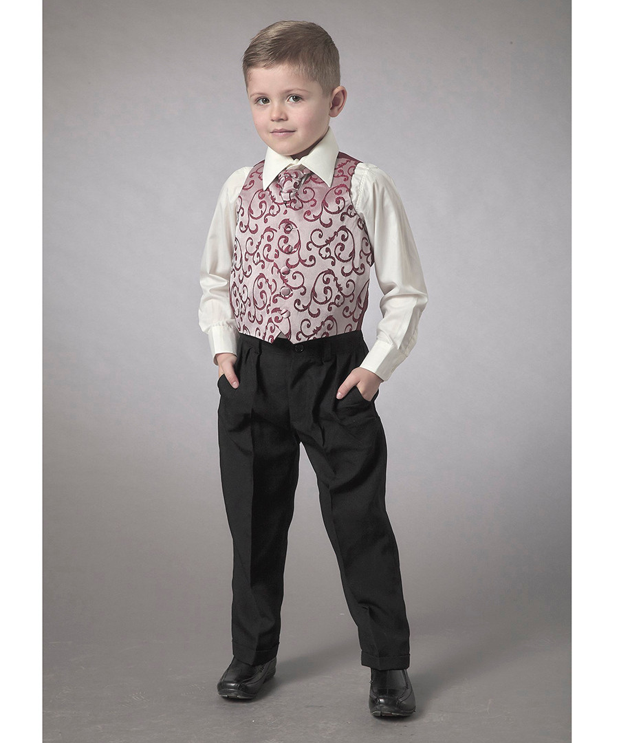 Boy's 2-11yrs wine waistcoat set Sale - Couche Tot