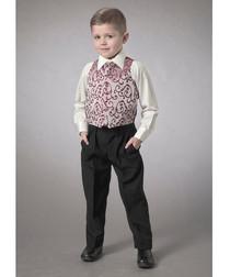 Boy's 2-11yrs wine waistcoat set
