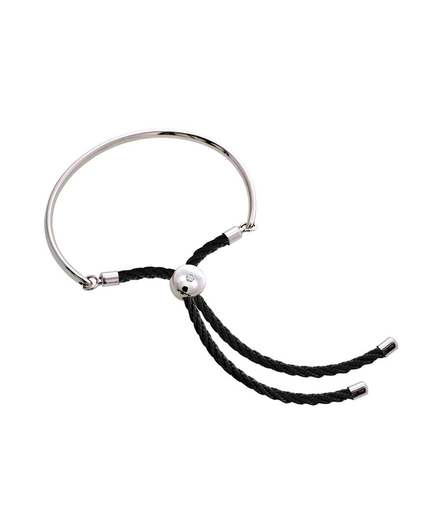 Bali silver-tone & black cord bracelet Sale - diamond style