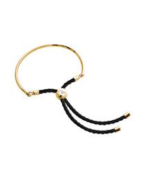 Bali gold-plated & black cord bracelet