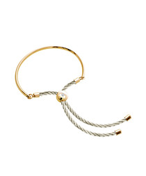 Bali gold-plates & cream cord bracelet