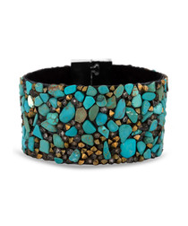 Turquoise Swarovski crystal cuff