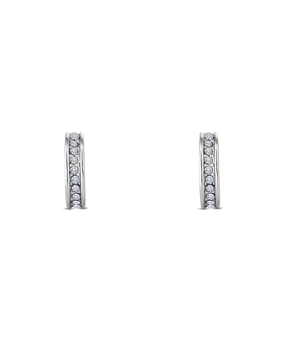 Domino white gold-plated crystal earrings Sale - diamond style