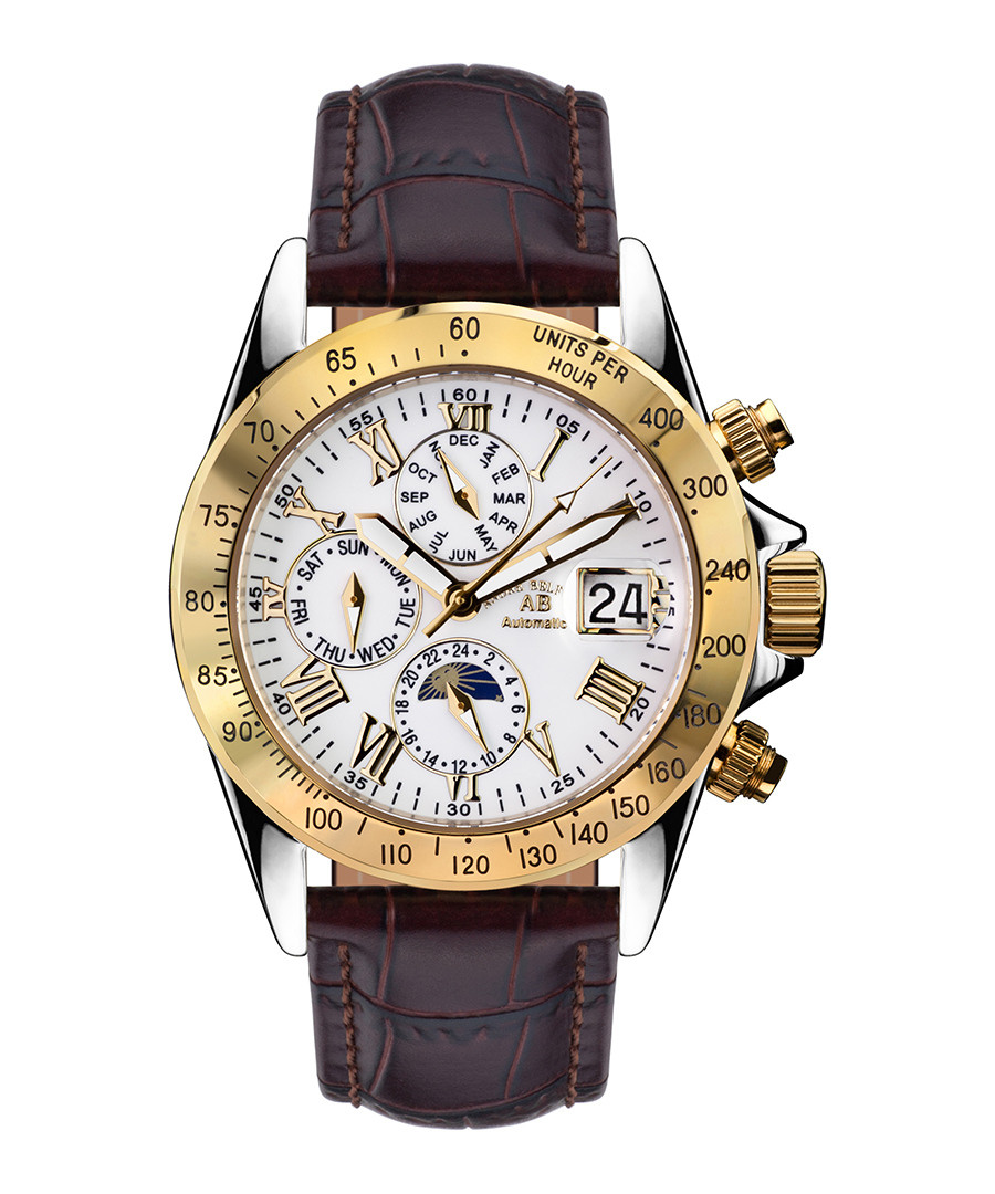 Le Capitaine brown leather strap watch Sale - andre belfort