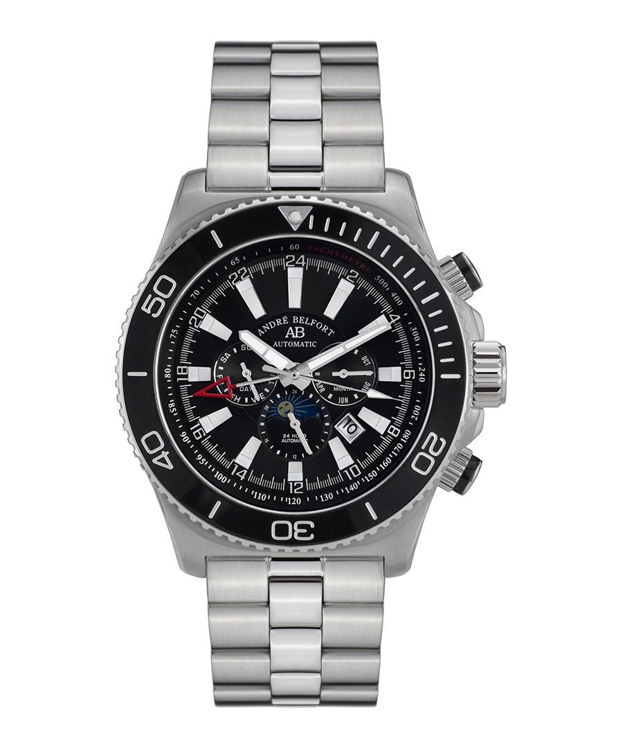 Le Commandant silver-tone & black watch Sale - andre belfort