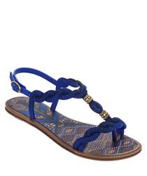 Tribal blue braided sandals