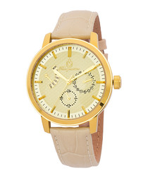 Baton Rouge beige & gold-tone watch