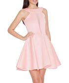 Pink mesh cut-out skater dress