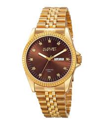 Gold-tone diamond dial watch