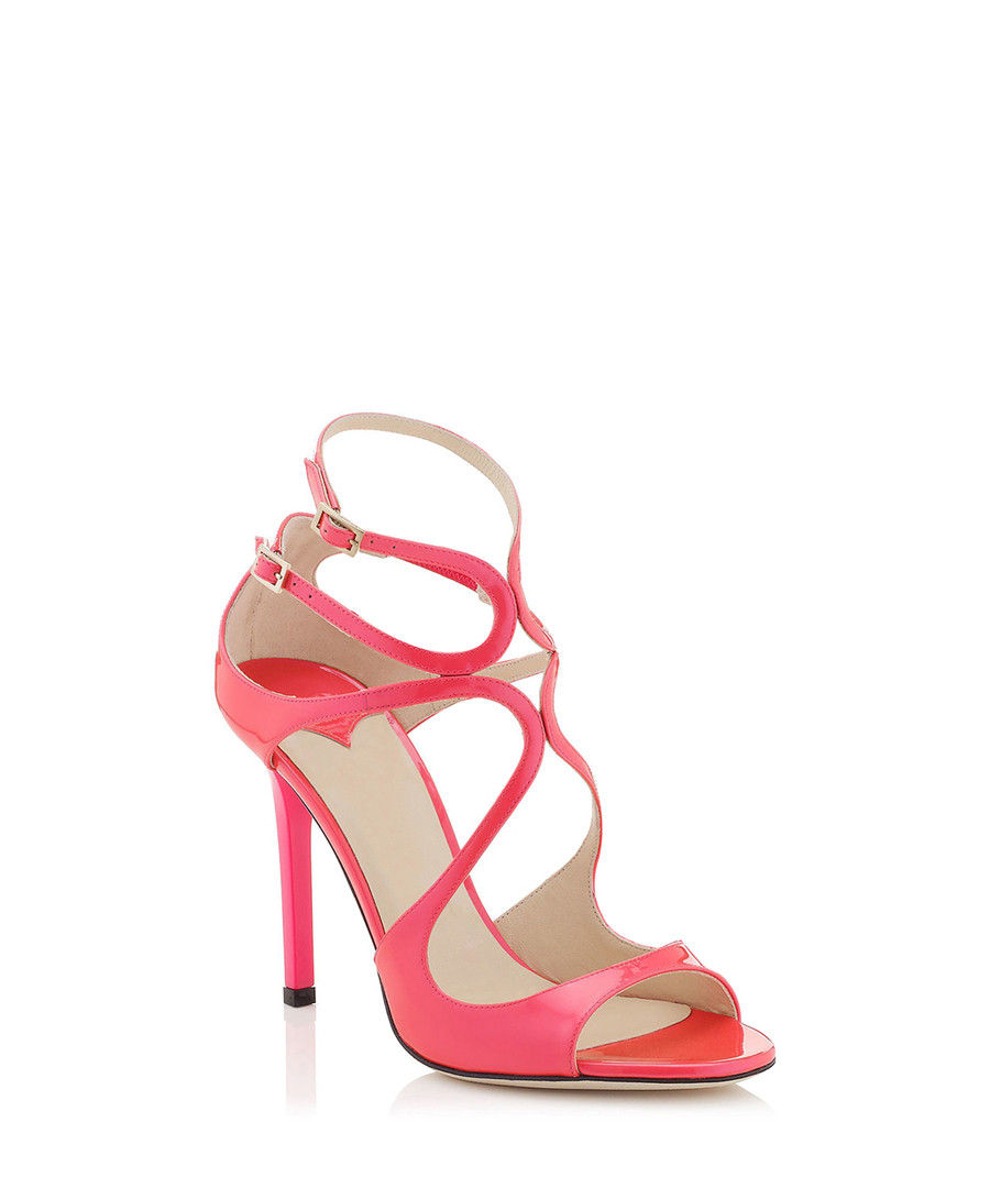 2352063a1bae ... Pink leather strappy peep-toe heels Sale - Jady Rose ...