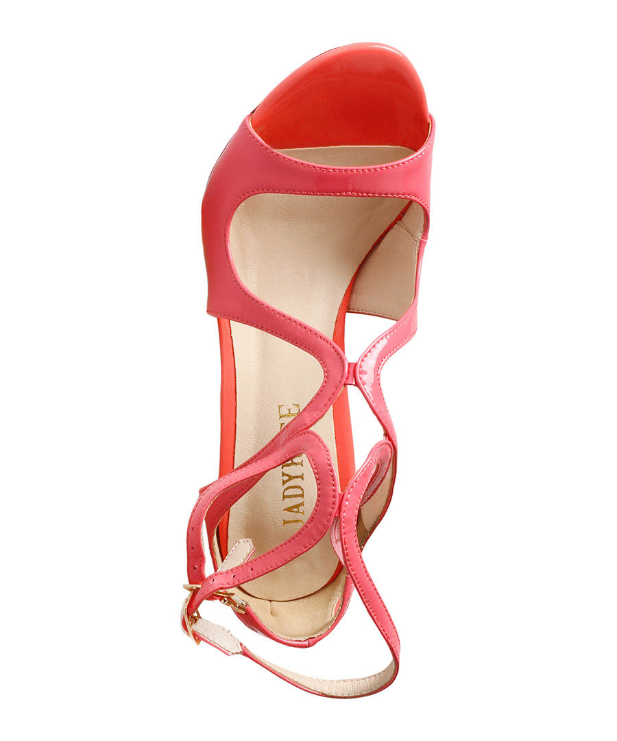 0efc547b6ca1 ... Pink leather strappy peep-toe heels Sale - Jady Rose