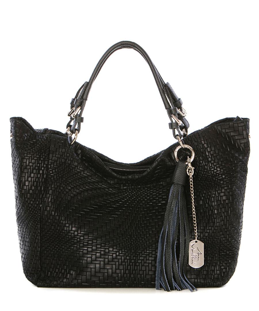 Black weave-effect leather shoulder bag Sale - anna morellini