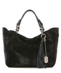 Black leather woven large shoulder bag