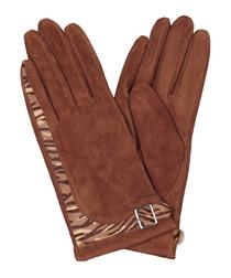 Cognac suede animal print gloves
