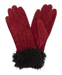 Berry & black suede faux fur gloves