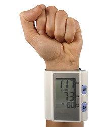 Image of White digital blood pressure monitor