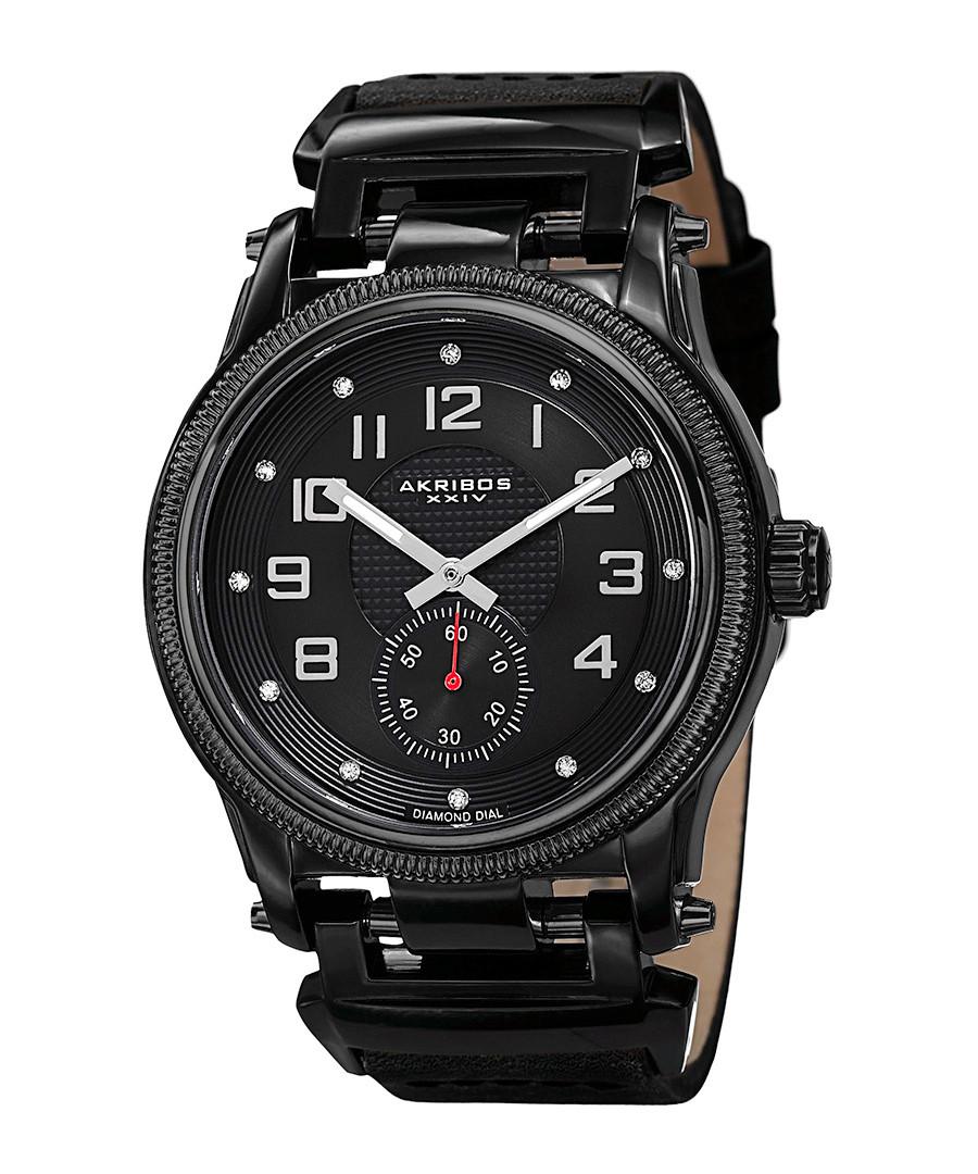 Black & diamond time marker watch Sale - Akribos XXIV