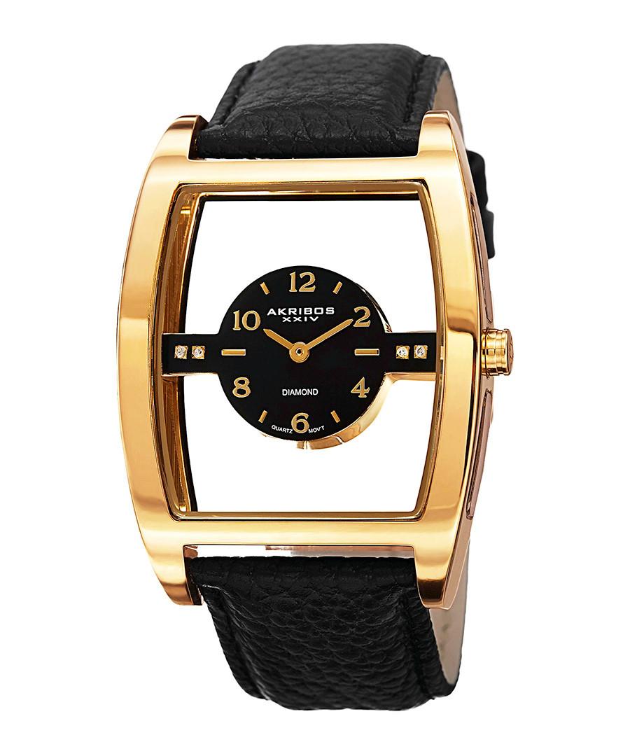 Black & gold-tone cut-out dial watch Sale - Akribos XXIV