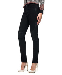 Black cotton knee patch jeggings