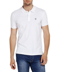 White pure cotton logo polo shirt