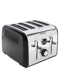 Image of Aurora black four-slot steel toaster