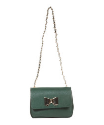 Green leather bow detail shoulder bag