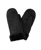 Black sheepskin leather pebbled mittens
