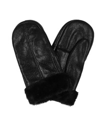 Black sheepskin leather mittens